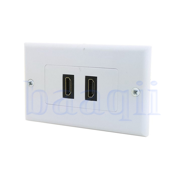 dual ports hdmi panel wall outlet cover face plate cable coupler extension da ebay. Black Bedroom Furniture Sets. Home Design Ideas