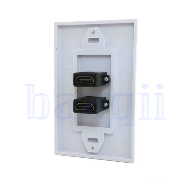 dual ports hdmi panel wall outlet cover face plate cable coupler extension da. Black Bedroom Furniture Sets. Home Design Ideas
