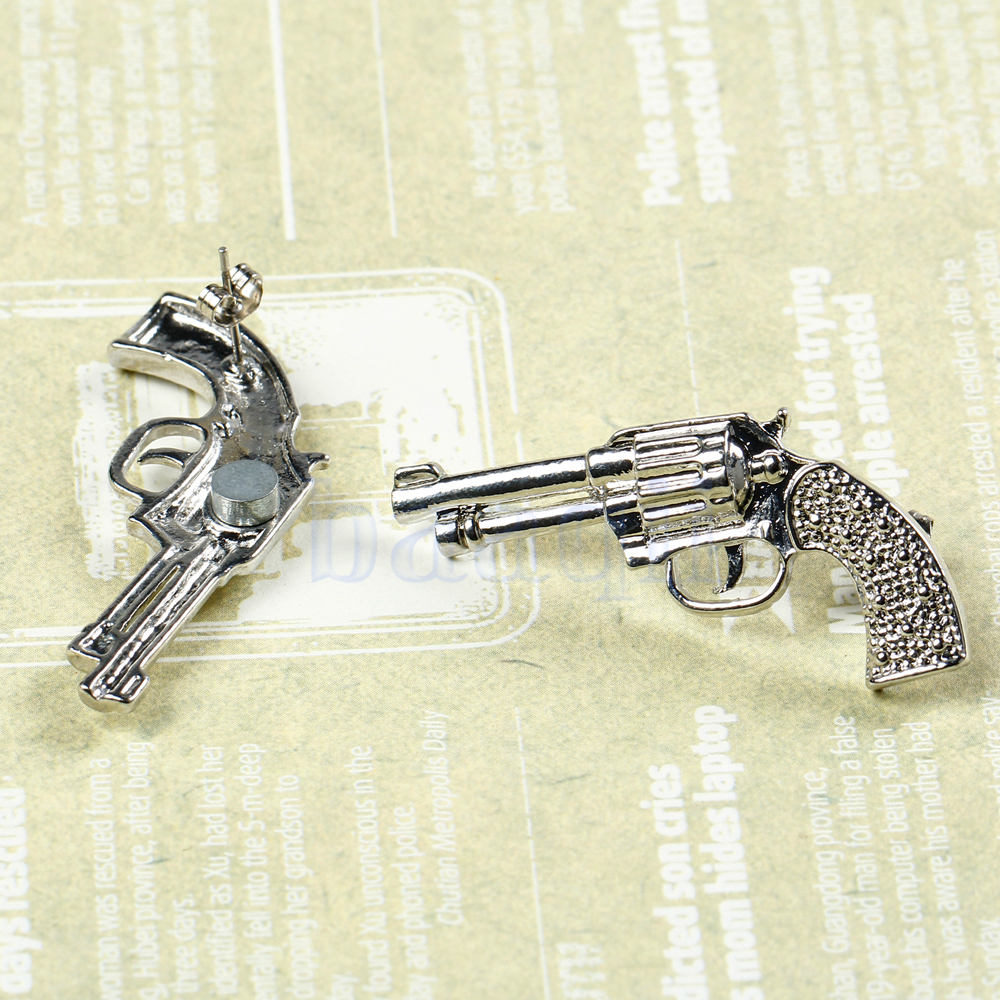 Punk Vintage Gun White Gold Plated Alloy Cool Earrings Ear ...