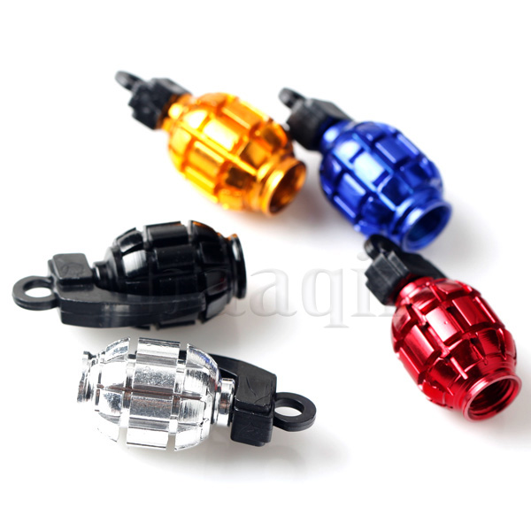 4pcs m tal bouchon de valves grenade cap cover pour moto voiture v lo pneu ebay. Black Bedroom Furniture Sets. Home Design Ideas