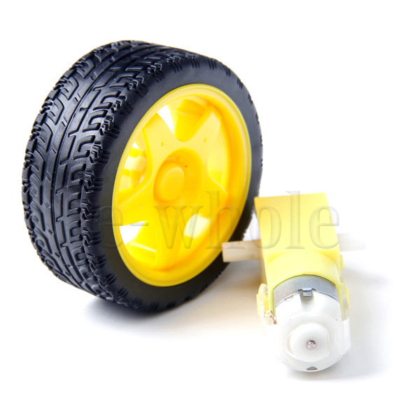 1-Set-Smart-Car-Robot-Plastic-Tire-Wheel-Tyre-with-DC3-6V-Gear-Motor-EW