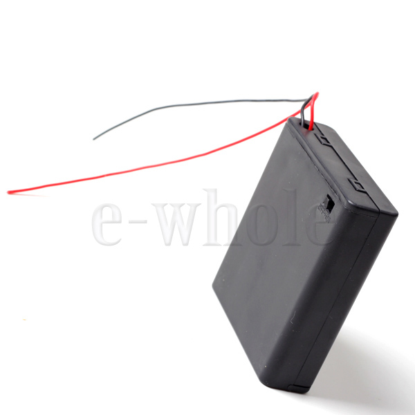4-x-AA-Battery-Holder-Box-6V-Case-W-lead-ON-OFF-Switch-Enclosed-Box-Snap-On-EW