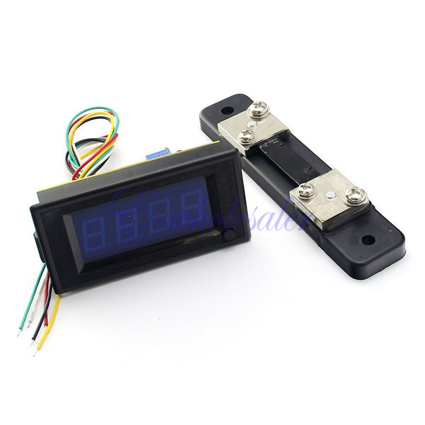 MINI-Blue-LCD-Digital-AMP-Panel-Meter-Voltmeter-with-SHUNT-DC-50A-0-50A-6-24V-DH