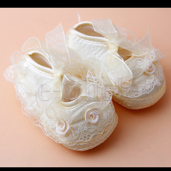 Flower-Lace-Girls-Princess-Shoes-Newborn-Toddler-Shoes-Yellow-3-6-Months-EW