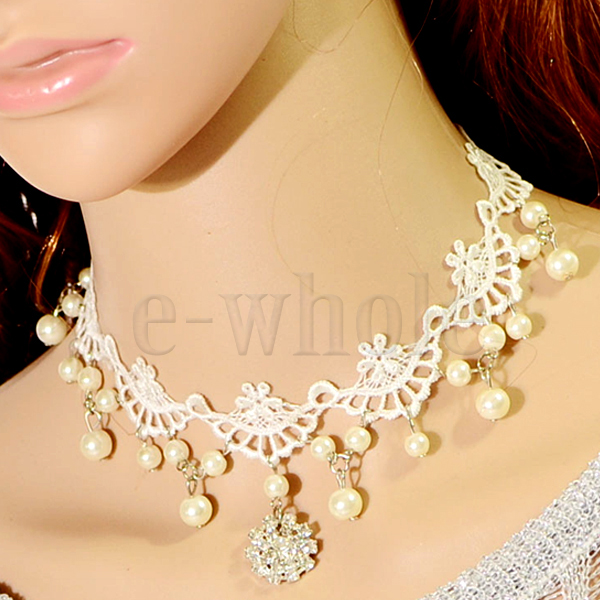 White-Black-Vintage-Victorian-Lace-Collar-Choker-Pendant-Necklace-Elegant-PR