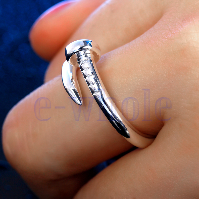 fashion silver plated simple nail design