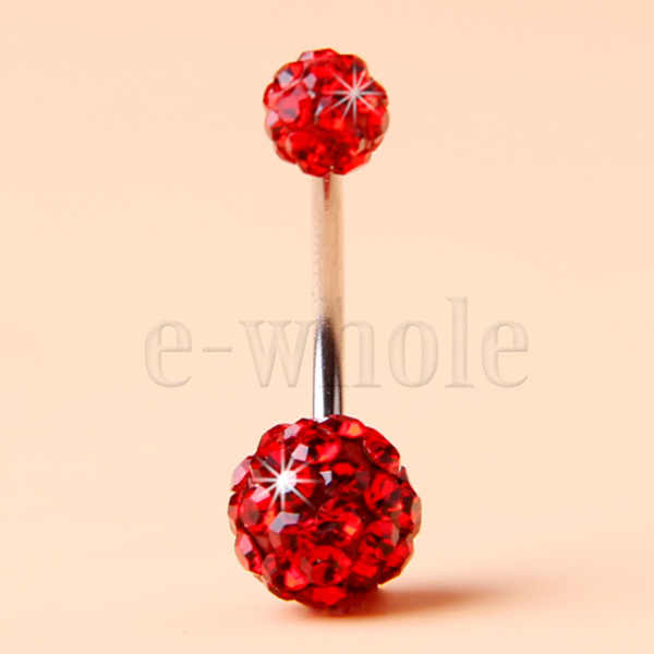 316L-Steel-Navel-Belly-Button-Bar-Ring-Disco-Ball-Crystal-Shamballa-2-Balls-WT