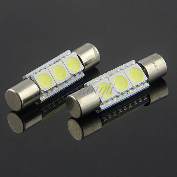 2pcs 3 smd 5050 29mm 6614f led bulbs for car sun visor vanity mirror lights ew ebay. Black Bedroom Furniture Sets. Home Design Ideas
