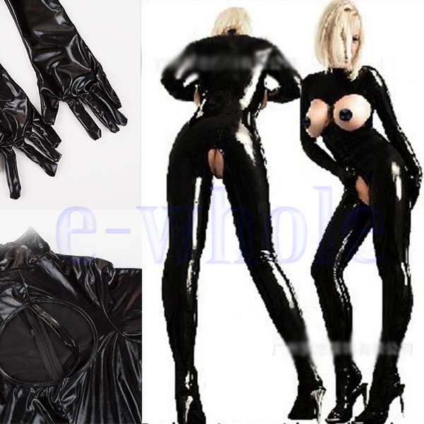 Women Black Faux Leather Catsuit Bodysuit All In One PVC Crotchless Alluring H5