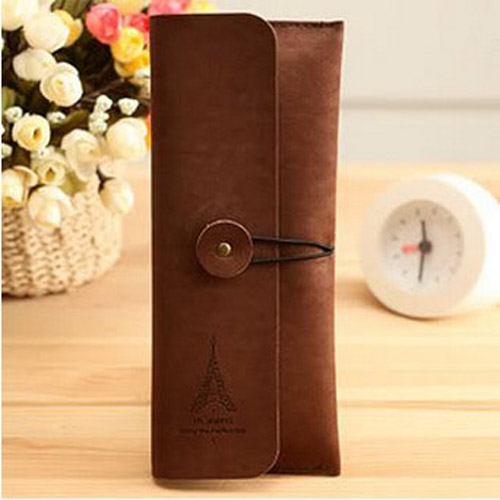 Faux-Leather-Pen-Pencil-Case-Bag-Stationery-Holder-Container-Storage-Pouch-New