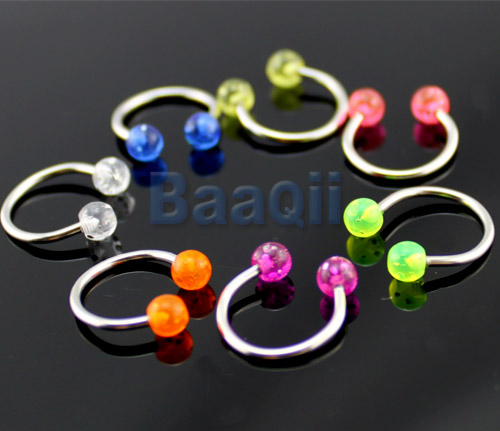 7-x-Multicolor-Ball-Horseshoe-Steel-Labret-Lip-Rings-Bars-Body-Jewellery