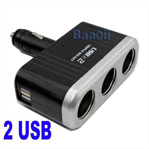 Triple-Socket-12-24V-DC-Car-Power-Outlet-Socket-Splitter-2USB-Port-For-Iphone
