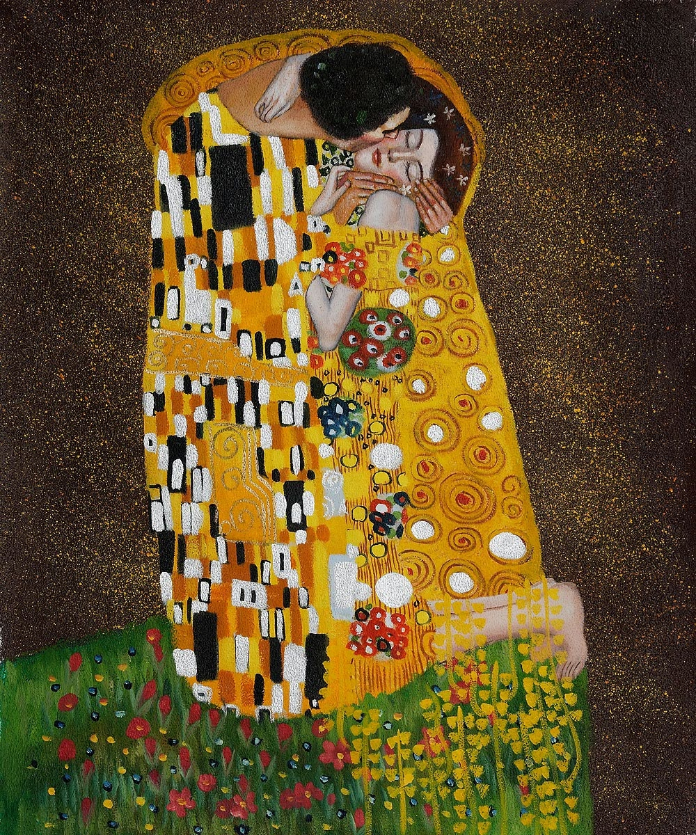 the kiss painting The kiss by gustav klimt is printed with premium inks for brilliant color and then hand-stretched over museum quality stretcher bars 60-day money back guarantee and free return shipping.