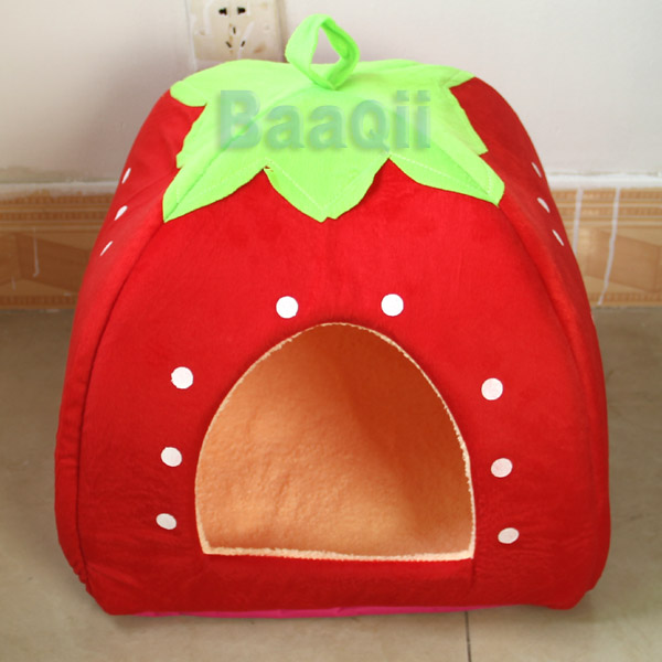 Image is loading Red-Cute-Cashmere-Foldable-Strawberry-Pet-Dog-Bed- & Red Cute Cashmere Foldable Strawberry Pet Dog Bed Cat Bed Tent ...