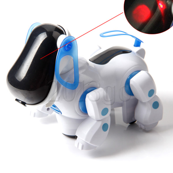 Cute Blue Robotic Electronic Walking Pet Dog Puppy Kids Toy with Music Light 3O