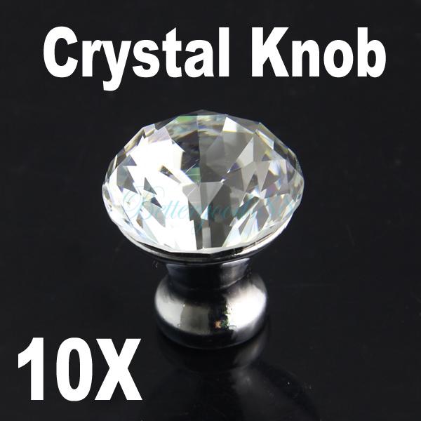 10 PC 30mm Diamond Shape Crystal Glass Cabinet Knob Cupboard Drawer Pull Handle