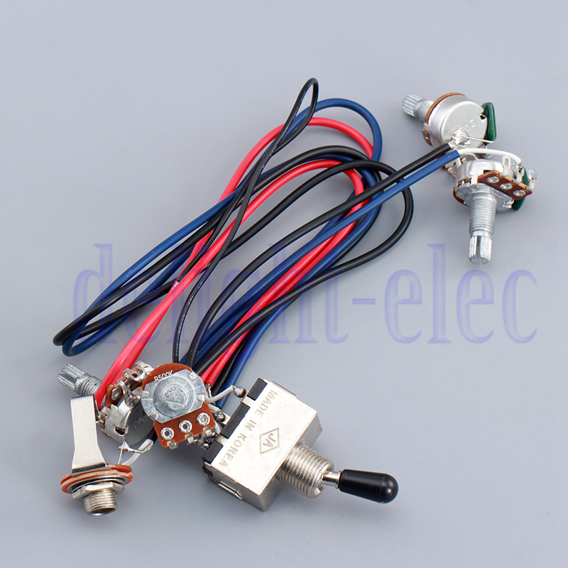 Guitar Wiring harness 3 way Toggle switch 2volumes/2 tones jack For ...