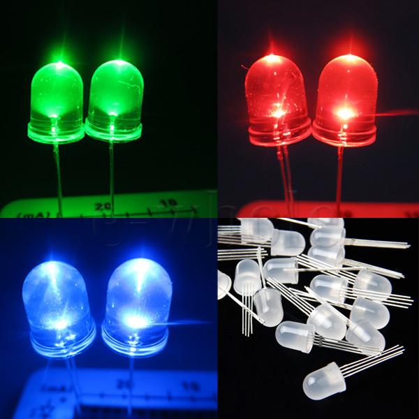 Details about Lot 20pcs 10mm 4pin RGB Red Green Blue LED Diffused Common  Anode DIY Project TW