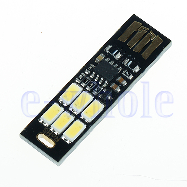 Ultra-thin 6LED USB Night Light Pocket Lamp Keychain Touch stepless dimming TW