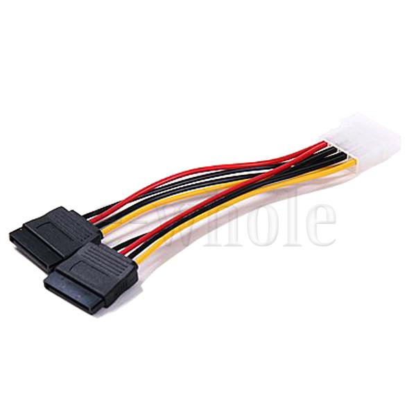 SATA Adapter Splitter Cable Converts a Molex 4 Pin to 2 X 15 Pin SATA