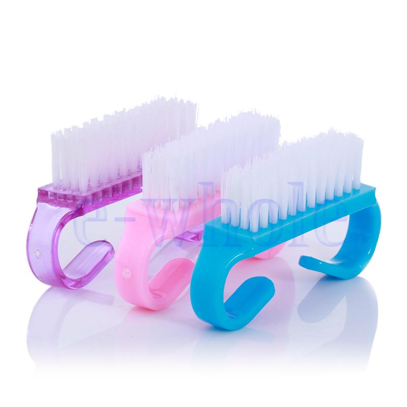 3PCS Plastic Handle Clean Nail Art Dust Cleaning Brush Manicure ...
