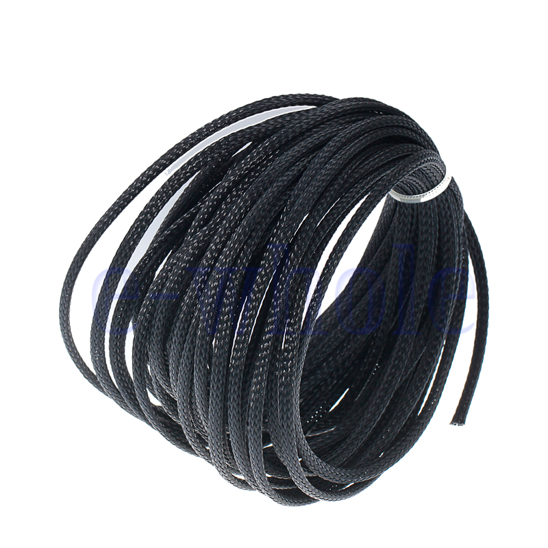10m 10mm Expandable PET Braided Cable Wire Sleeving Good Flexibility Elastic HE
