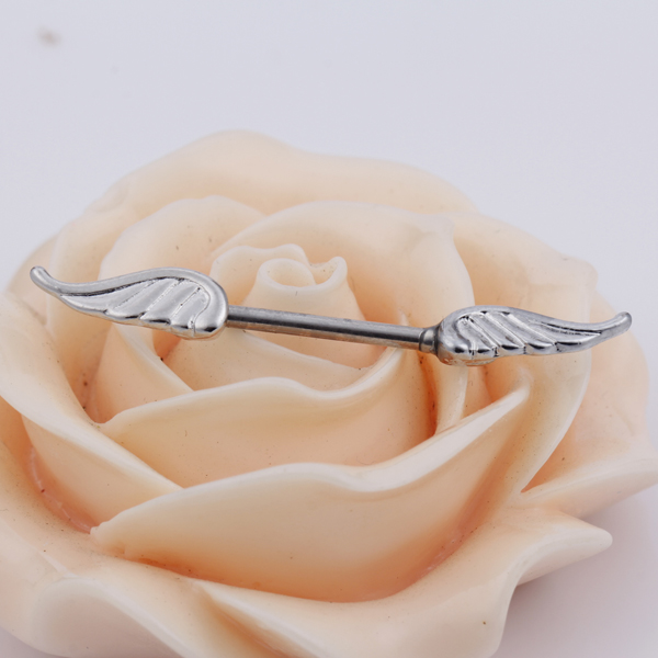 2x Silver Angel Wings Style Body Bar Barbell Piercing Ring 14g