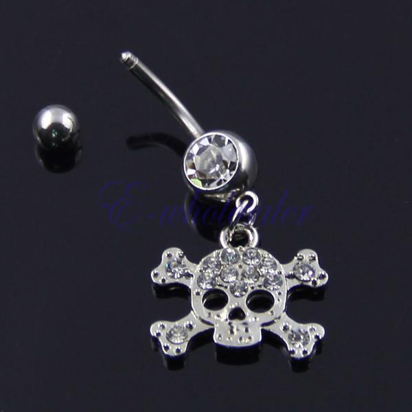 14g Belly Button Navel Ring MB 44 Goth Skull /& Crossbones Biker Chick