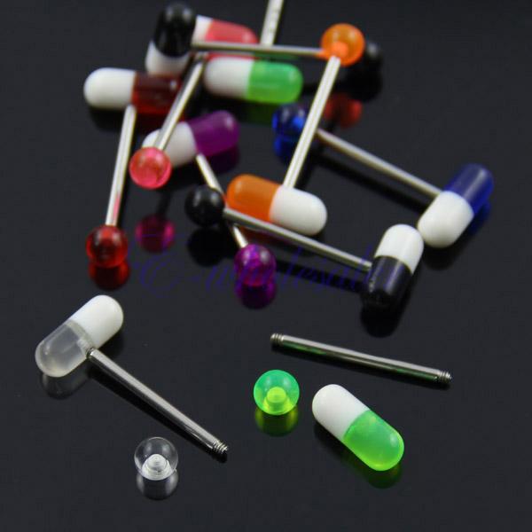 10pcs UV Tongue Rings Bars  Barbells Body Jewelry Pill Shape Mix Colors K6